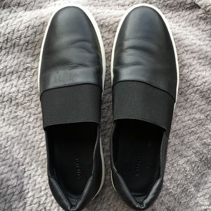 Vince Camino black leather slip on shoes, size 11.